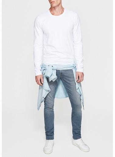 Mavi Uzun Kollu Tişört Beyaz